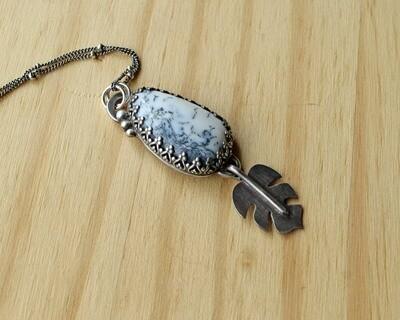 Dendritic Agate Monstera Leaf Pendant