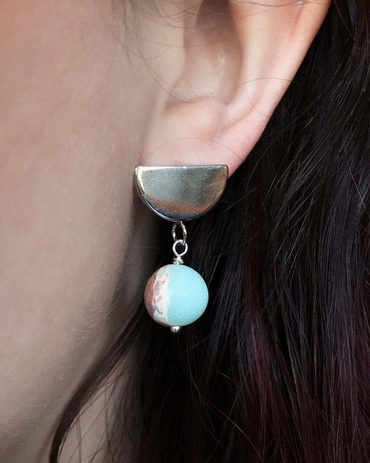 Half Moon Earrings - Aqua Terra Jasper