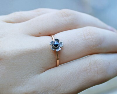 Rose Gold and Czech Glass Flower Ring