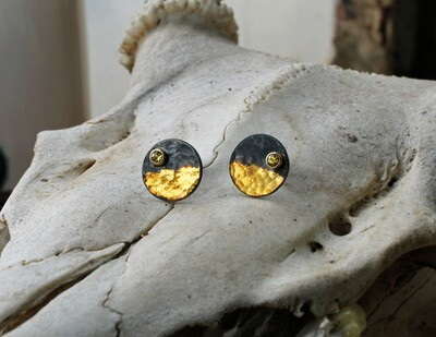 Yellow Sapphire Keum-boo Earrings (GEO Collection)