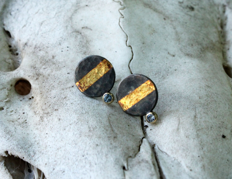 Montana Sapphire Keum-boo Earrings (GEO Collection)