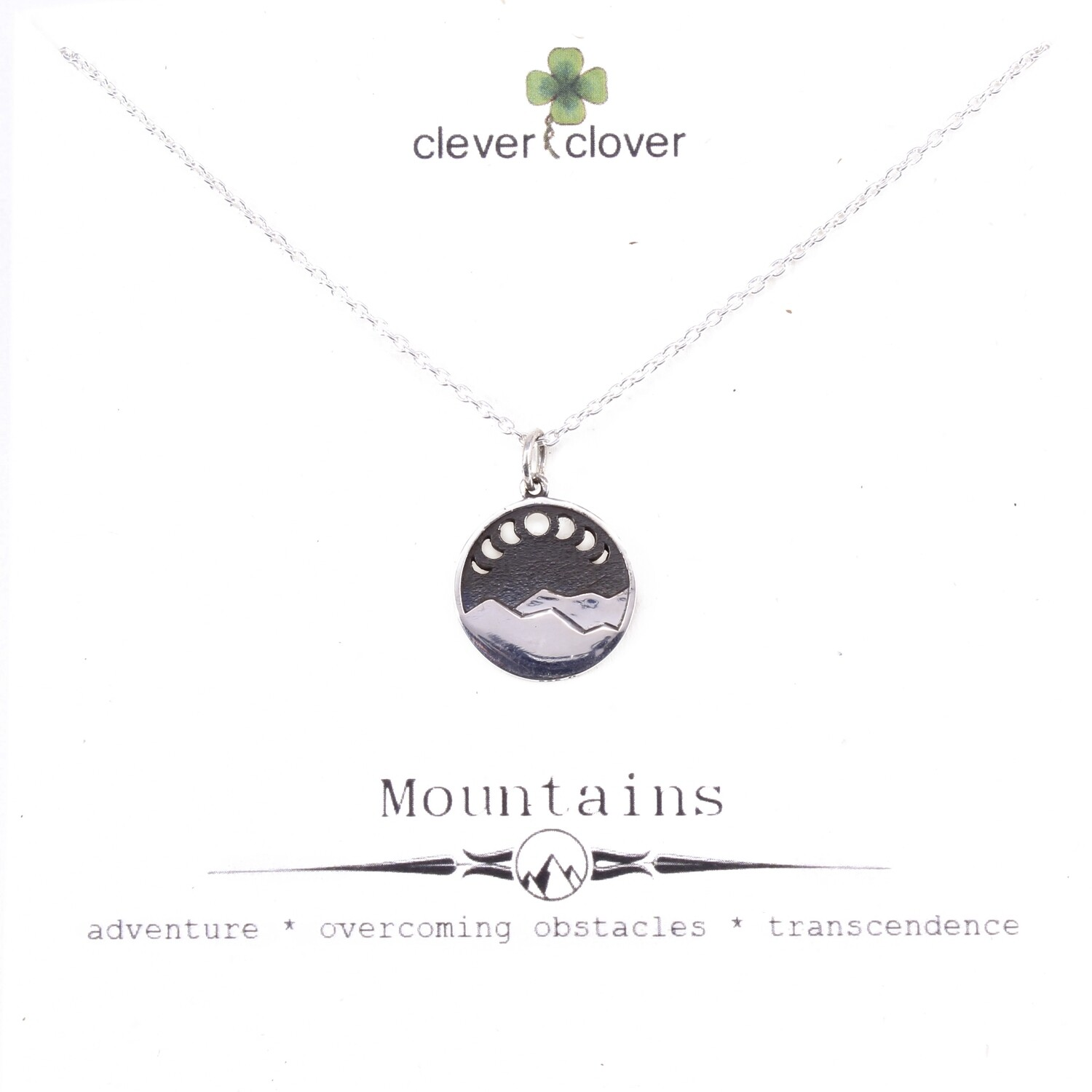 SSN4085 Sterling Silver Mountain with Cutout Moon Phases Necklace