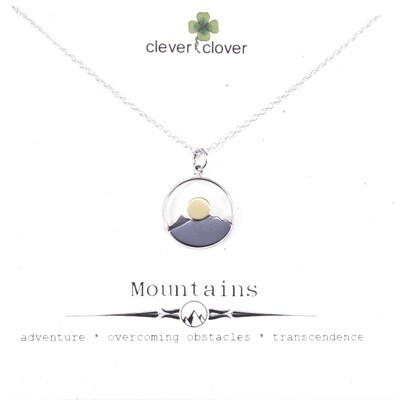 SSN3115 Sterling Silver+Bronze Sun  Mountain Range Necklace