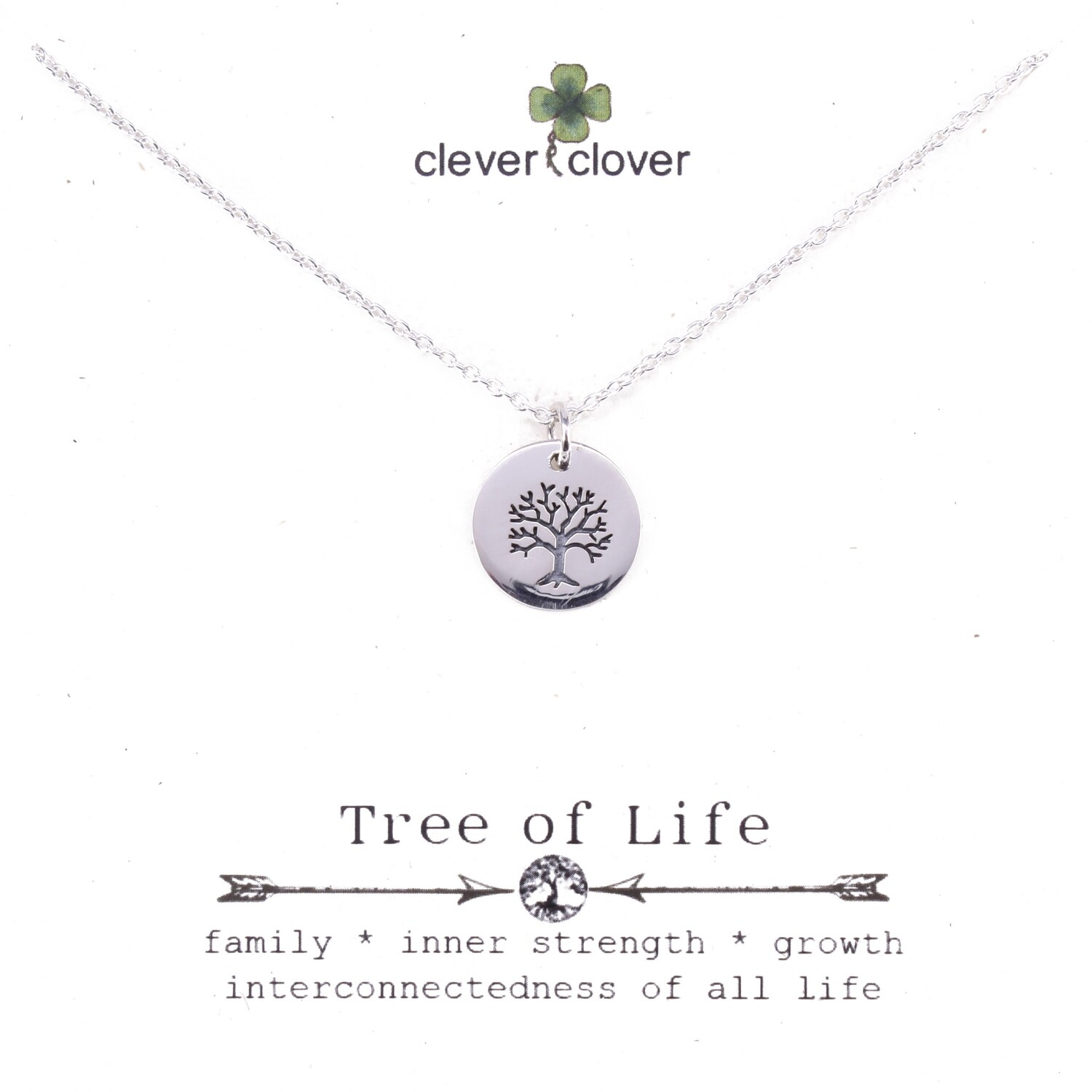 SSN731 Sterling Silver Small Etched Tree of Life Necklace
