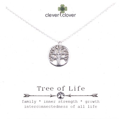 SSN867 Sterling Silver Small Textured Tree of Life Necklace