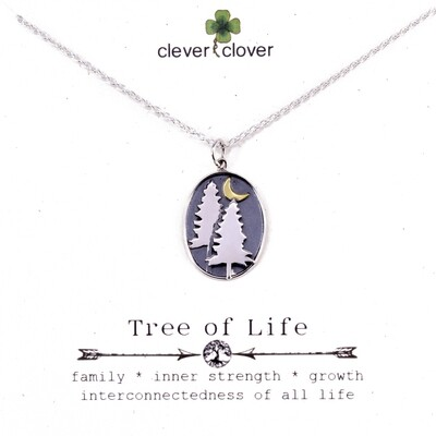 SSN3206 Sterling Silver Pine Tree + Bronze Moon Necklace