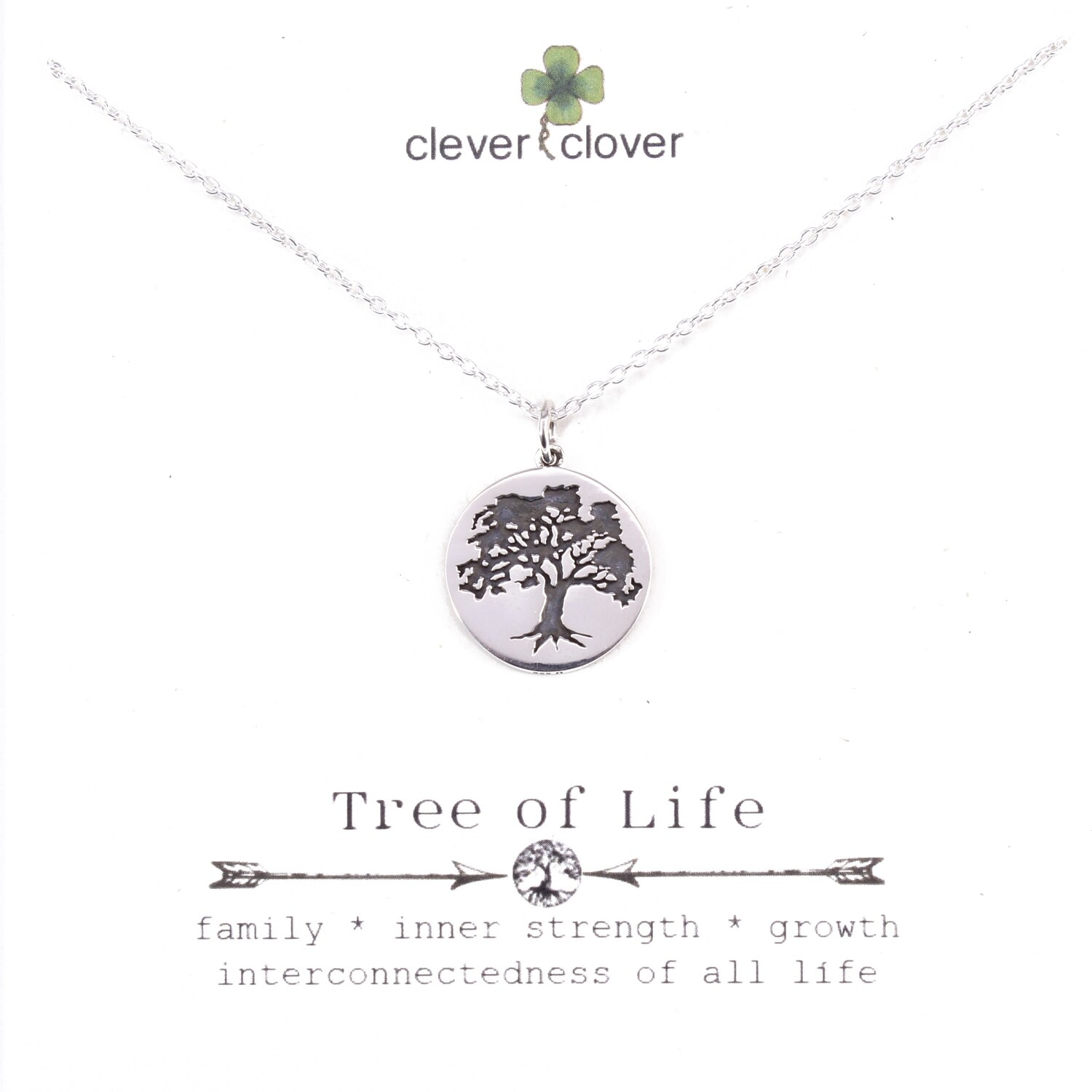 SSN4077 Sterling Silver Etched Oak Tree Necklace