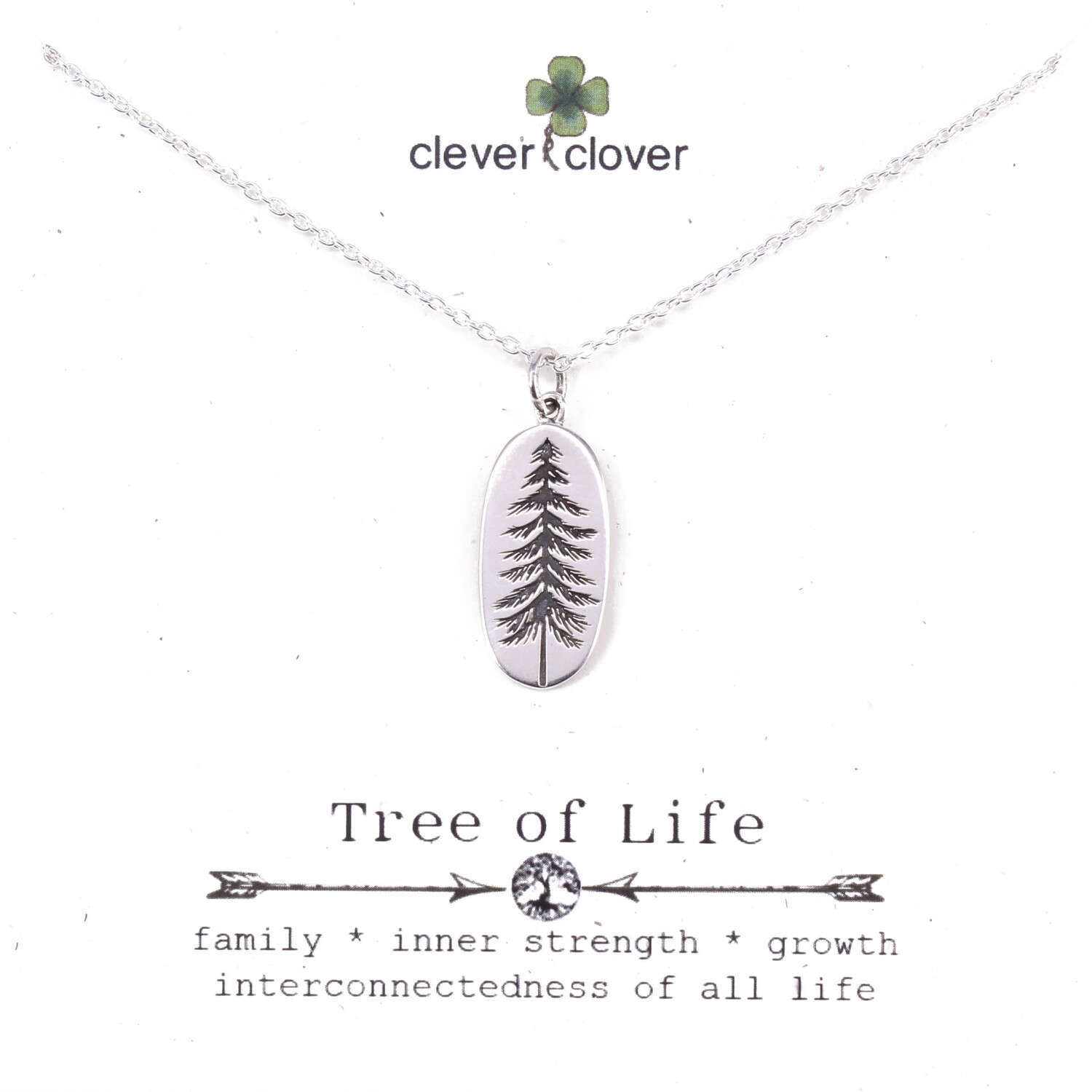 SSN4030 Sterling Silver Etched Oval Pine Tree Necklace