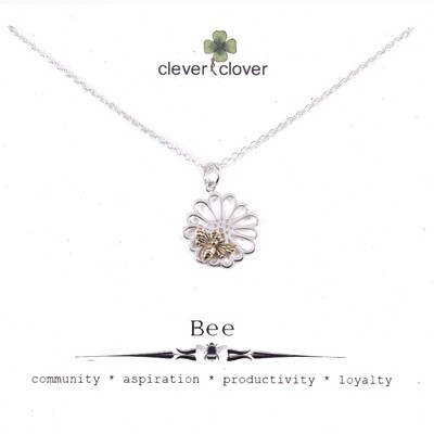SSN6145 Sterling Silver Daisy + Bronze Bee Necklace
