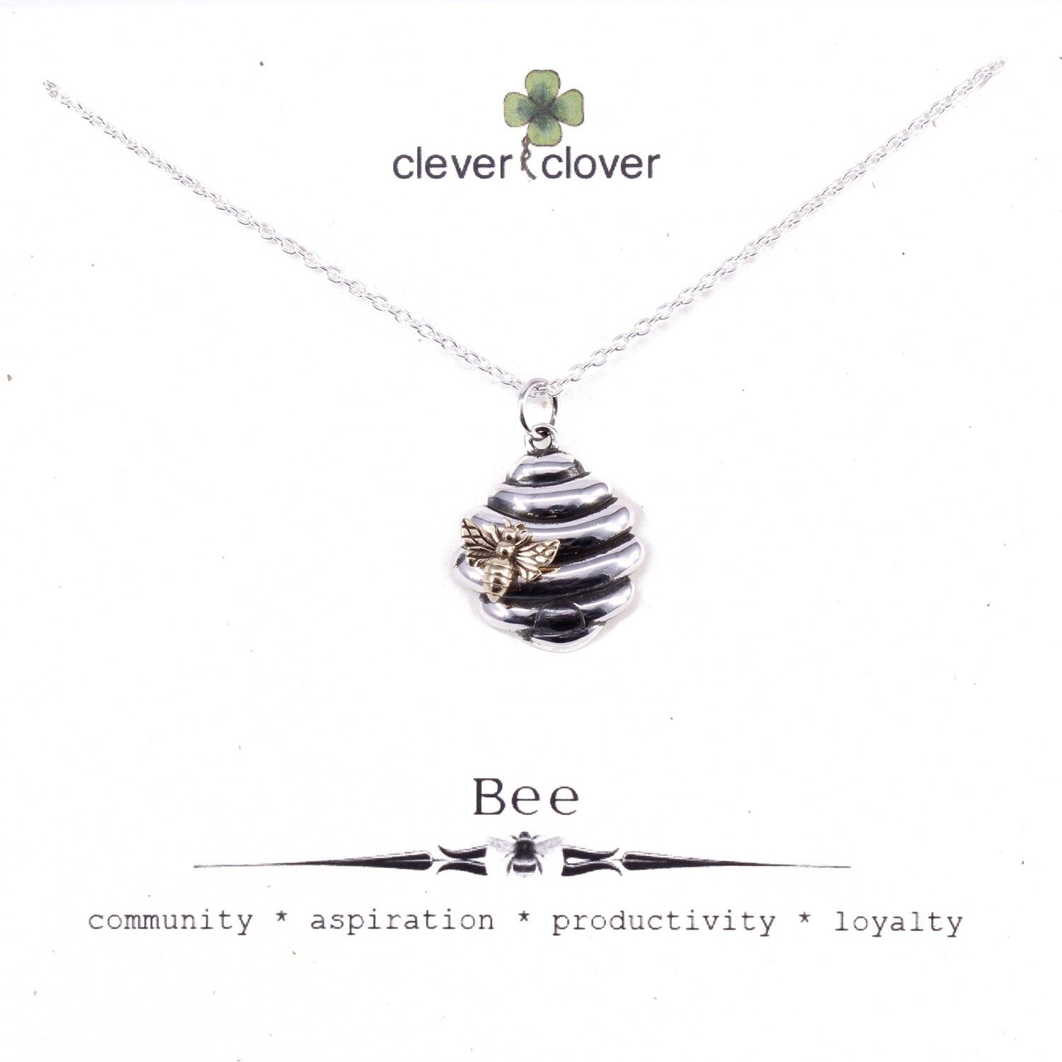SSN6195 Sterling Silver Beehive + Bronze Bee Necklace