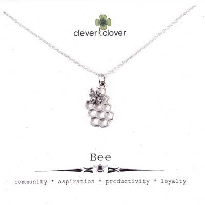 SSN6008 Sterling Silver Bee on Honeycomb Necklace