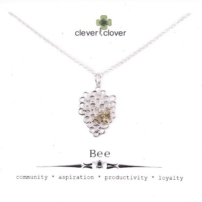 SSN6089 Sterling Silver Flower + Bronze Bee Necklace