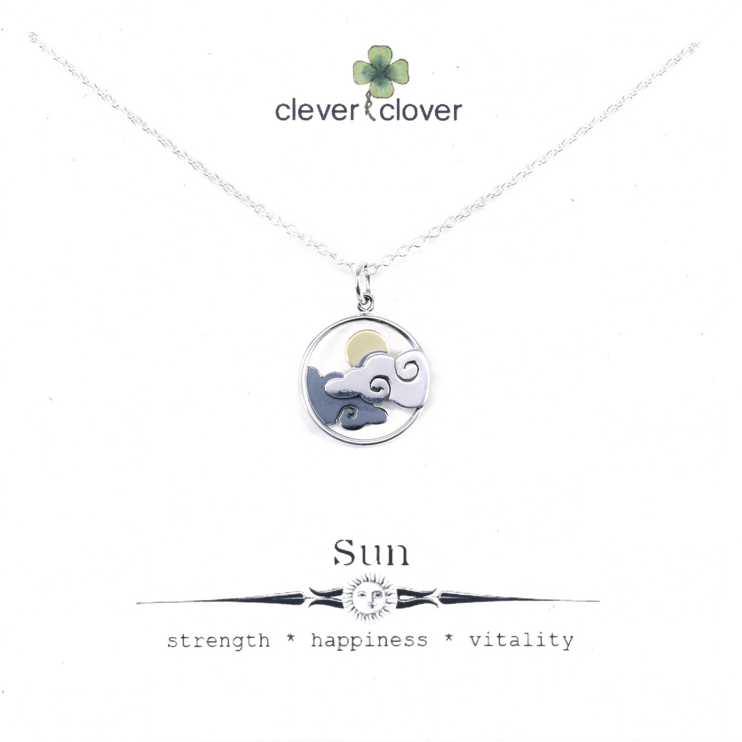 SSN3224 Sterling Silver Cloud + Bronze Sun Necklace