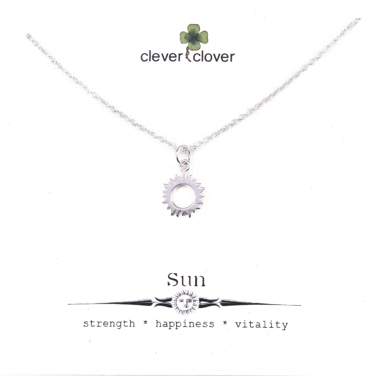 SSN6189 Sterling Silver Small Sun Eclipse Necklace