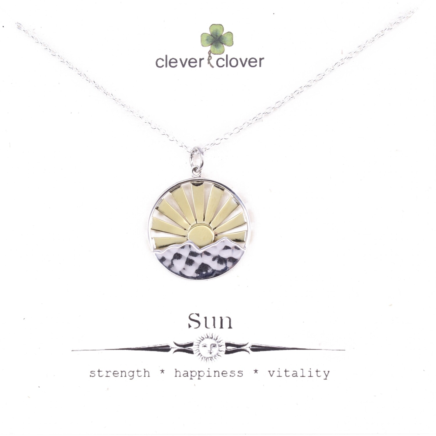 SSN3114 Sterling Silver Large Mountain Range + Bronze Sun Necklace