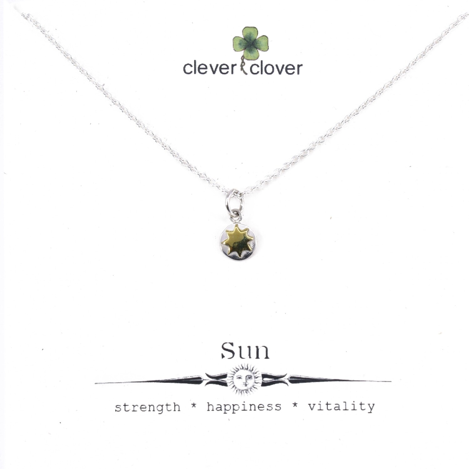 SSN3289 Sterling Silver Tiny Disc + Bronze Sun Necklace