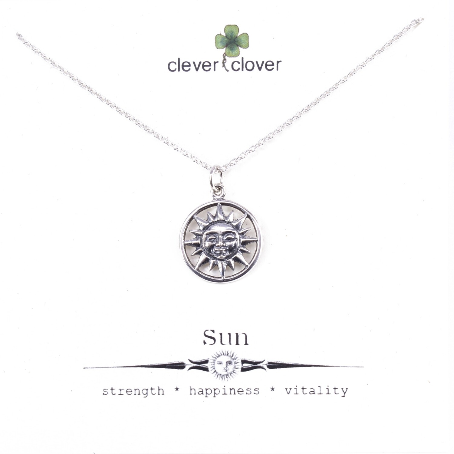 SSN1476 Sterling Silver Smiling Sun Necklace