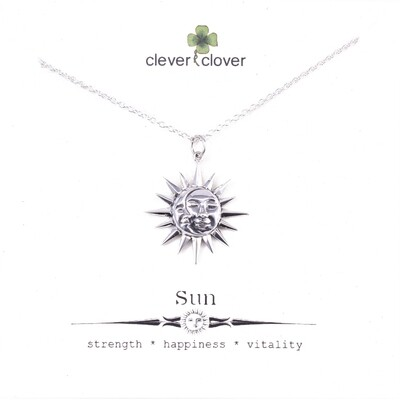 SSN6120 Sterling Silver Sun + Moon Necklace