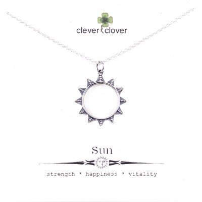 SSN3394 Sterling Silver Granulated Sun Necklace