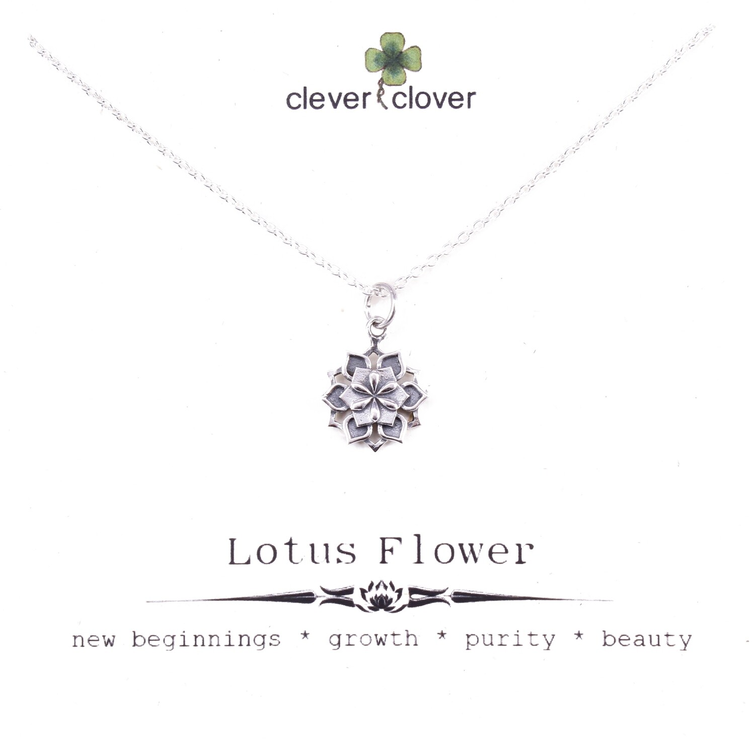 SSN7052 Sterling Silver Small Lotus Mandala Necklace