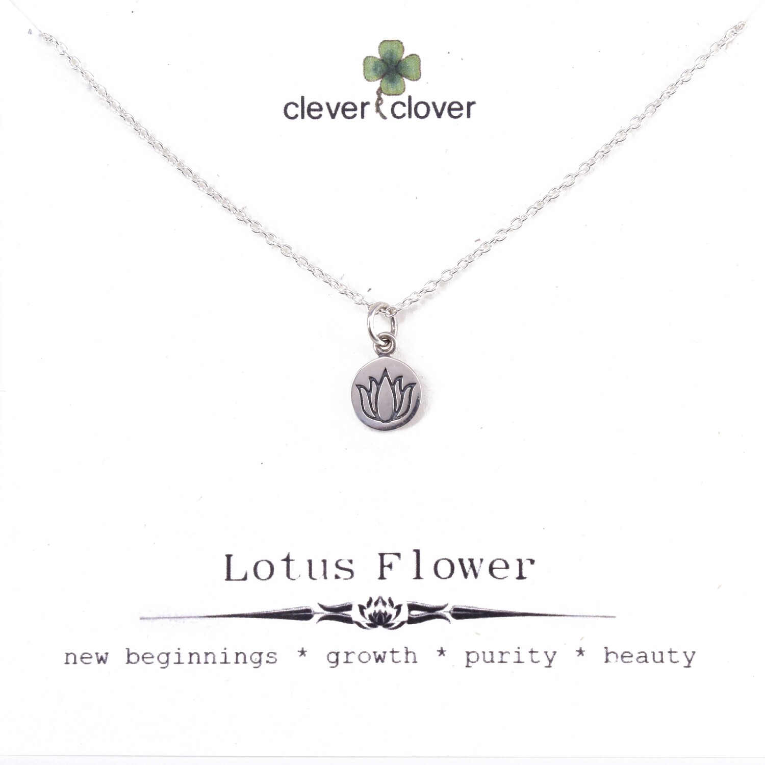 SSN1630  Sterling Silver Round Etched Lotus Necklace