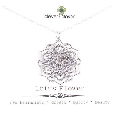SSN7044 Sterling Silver Large Lotus Mandala Necklace