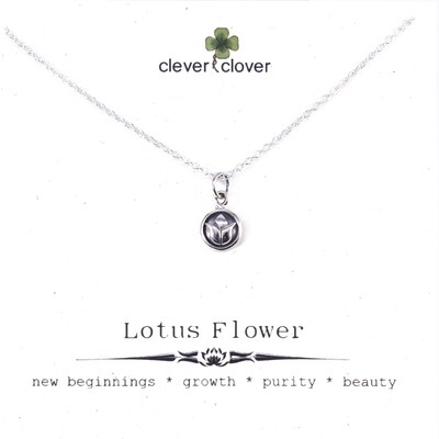 SSN550 Sterling Silver Tiny Lotus Circle Necklace