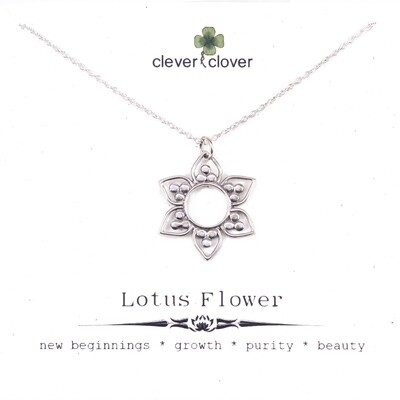 SSN3038 Sterling Silver Open Lotus Petals Necklace