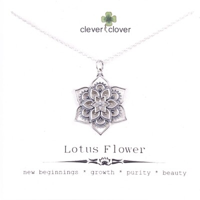 SSN7043 Sterling Silver Medium Lotus Mandala Necklace