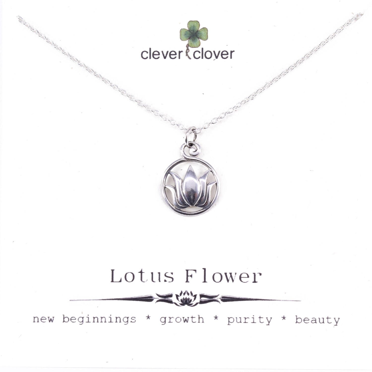 SSN468 Sterling Silver Round Open Lotus Necklace