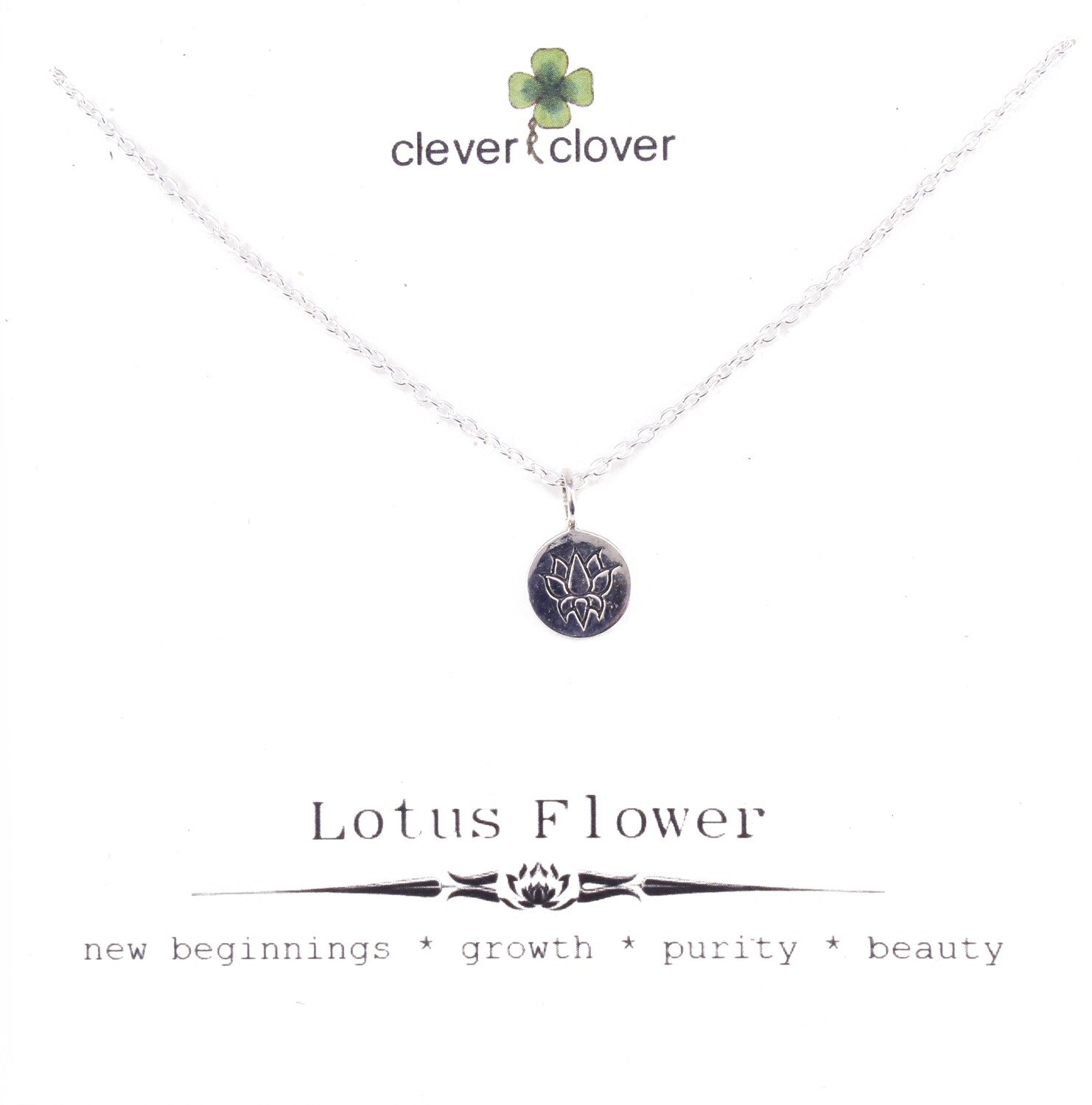 SSN649 Sterling Silver Etched Lotus Disc Necklace