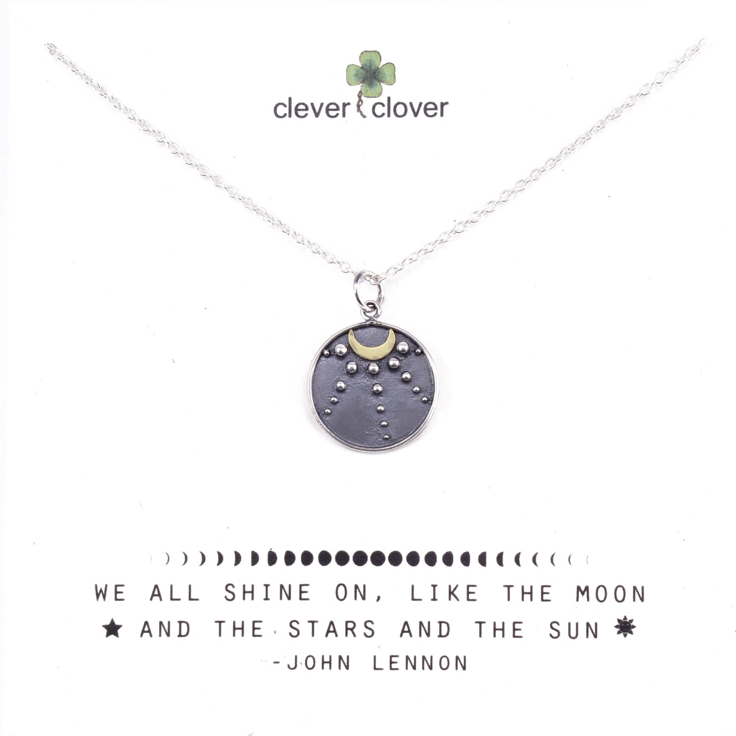 SSN3214 Sterling Silver + Bronze Moon Talisman Necklace