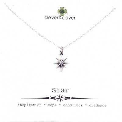 SSN6126 Sterling Silver Ridged 8 Point Star Necklace