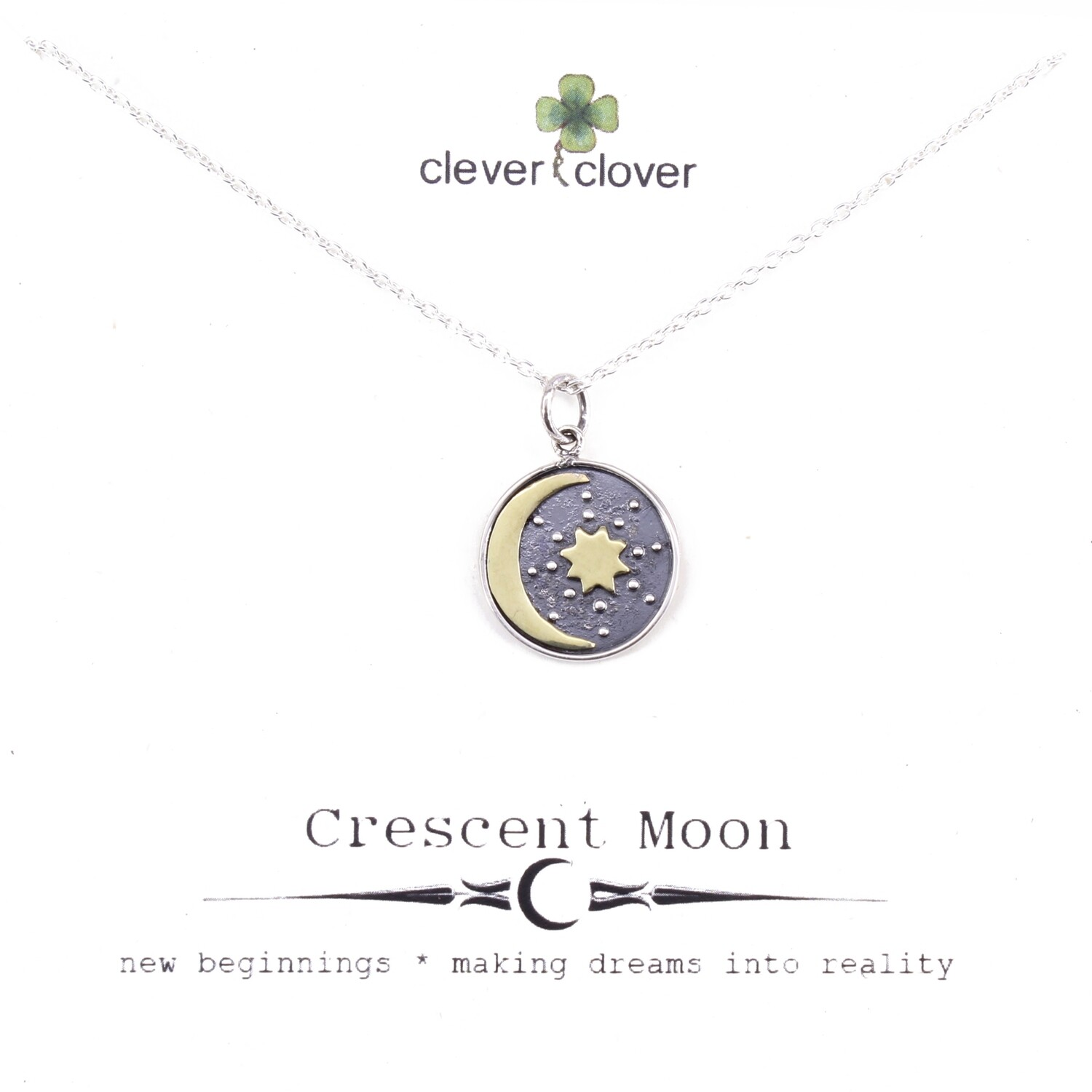 SSN3291 Sterling Silver + Bronze Moon/Sun Talisman Necklace