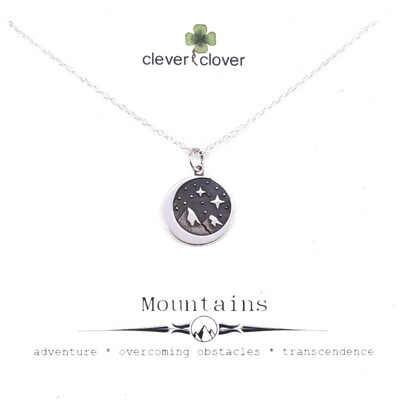 SSN4140 Sterling Silver Mountain + Starry Sky Necklace
