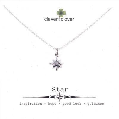 SSN6218 Sterling Silver 8 Point CZ Star Necklace