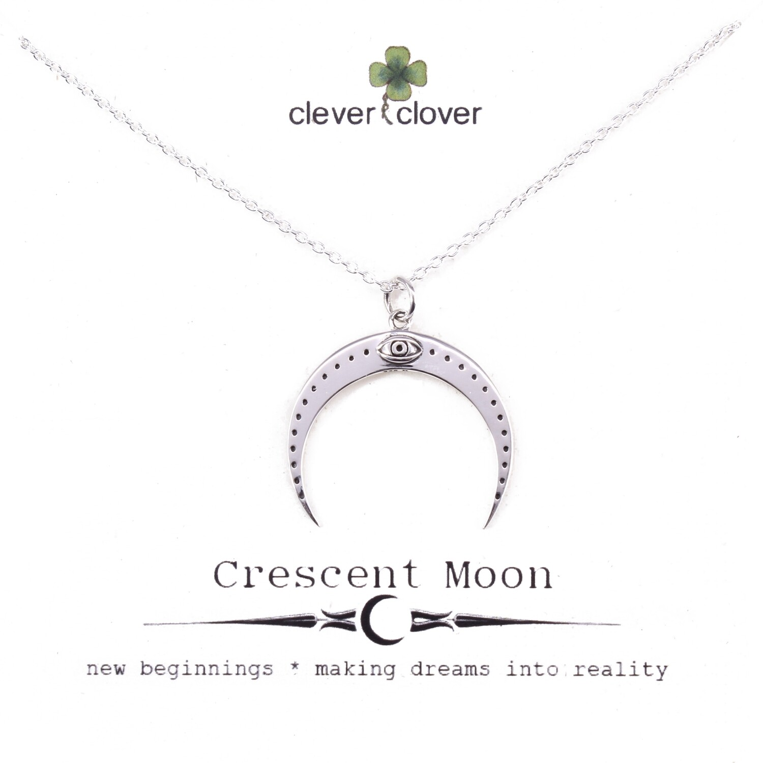 SSN4136 Sterling Silver Horizontal Moon + All Seeing Eye Necklace