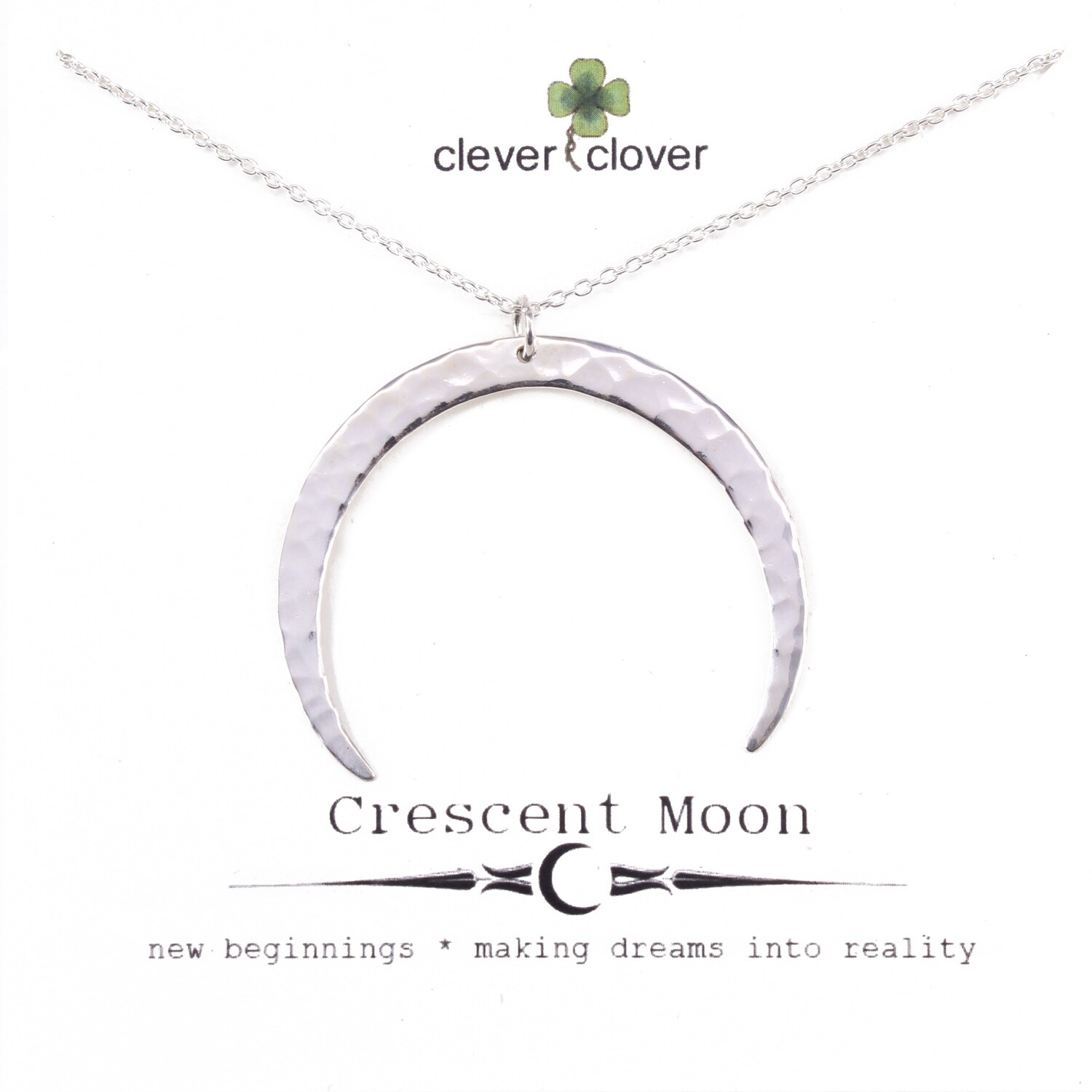 SSN3064 Sterling Silver Large Hammered Horizontal Moon Necklace