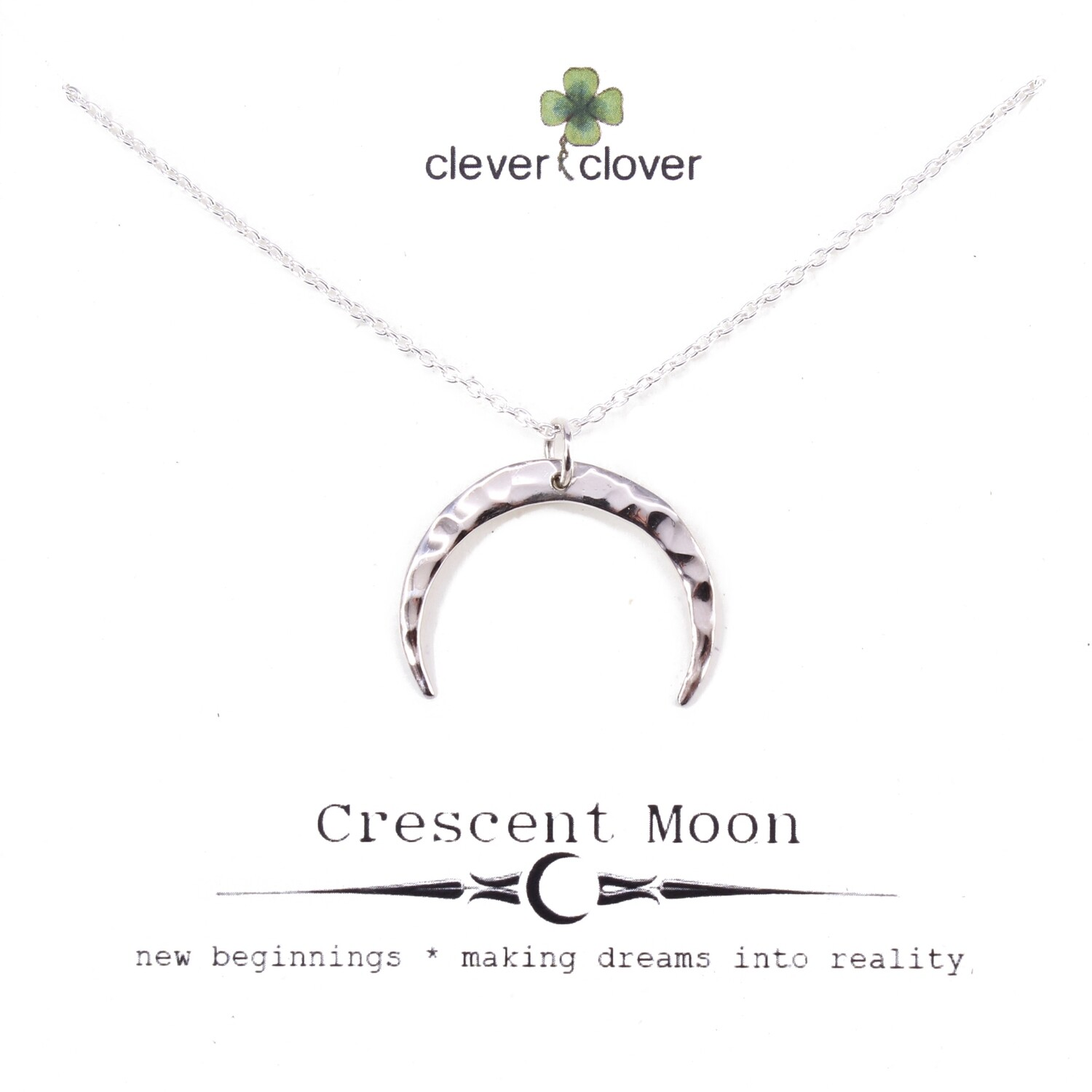 SSN3063 Sterling Silver Medium Hammered Horizontal Moon Necklace