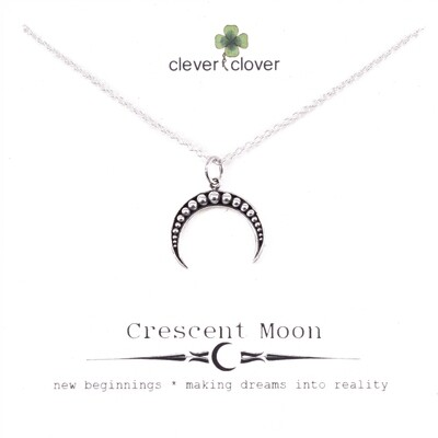 SSN3292 Sterling Silver Granulated Horizontal Moon Necklace