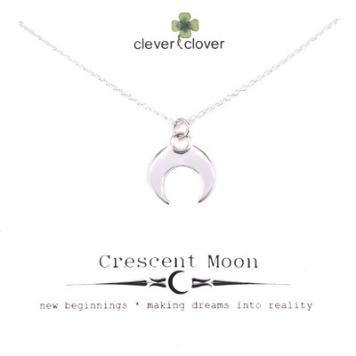 SSN2996 Sterling Silver Shiny Horizontal Moon Necklace