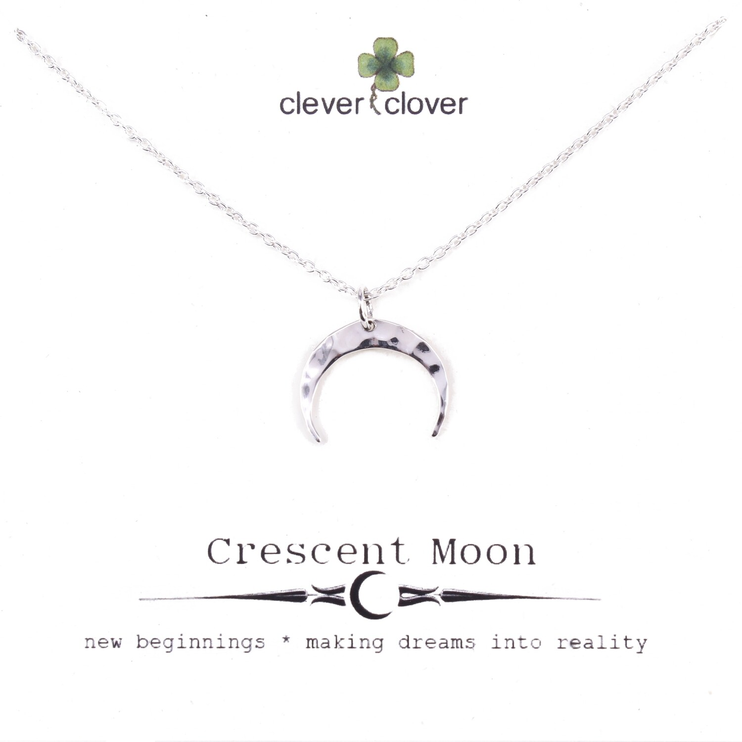 SSN3062 Sterling Silver Small Hammered Horizontal Moon Necklace