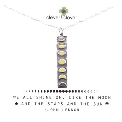 SSN3332 Sterling Silver Moon Vertical Bronze Moon Phase Bar Necklace