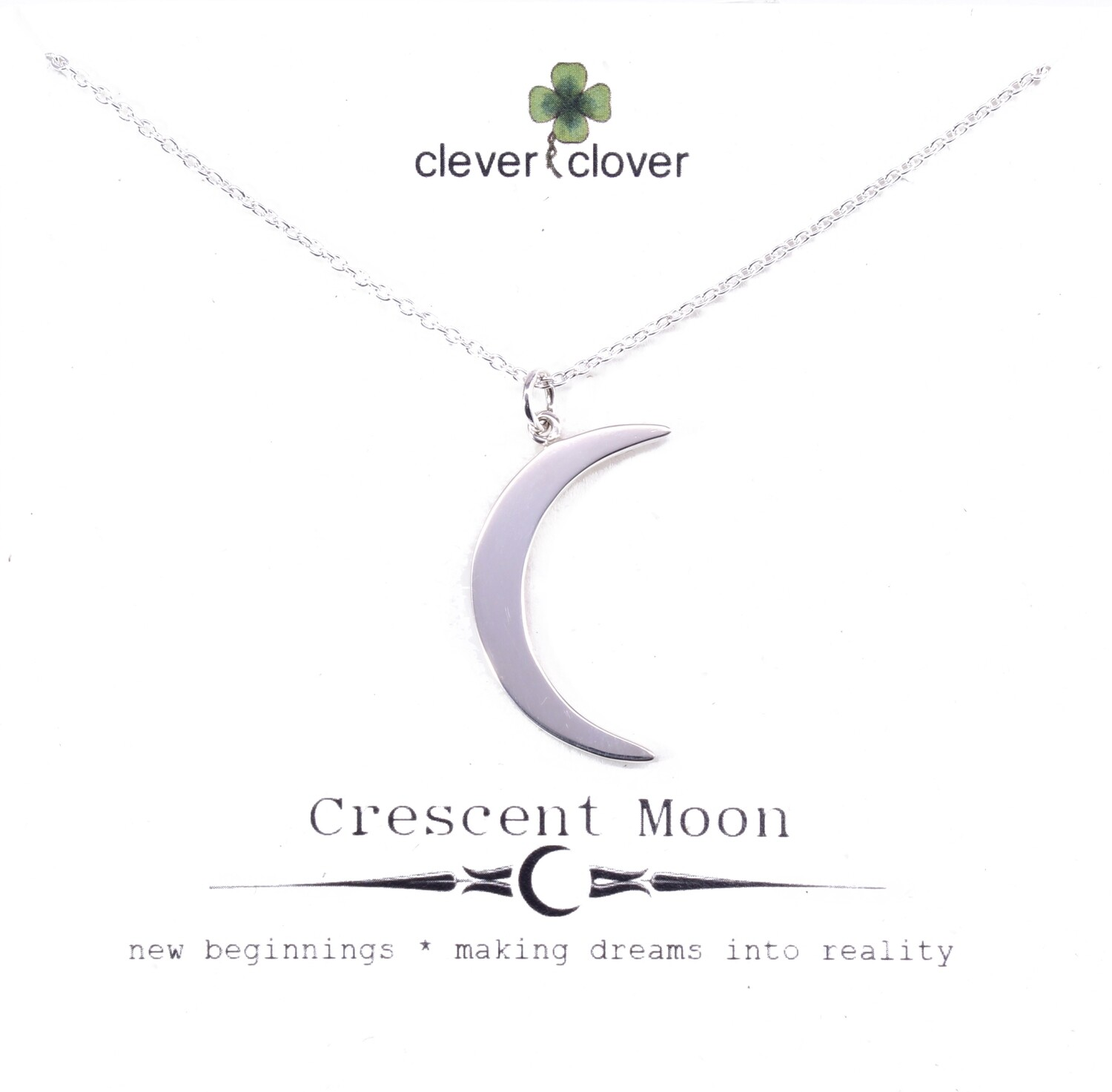 SSN1130 Sterling Silver Large Crescent Moon Necklace