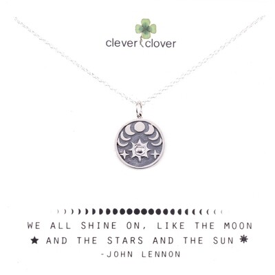 SSN4025 Sterling Silver Sun + Phases of the Moon Necklace