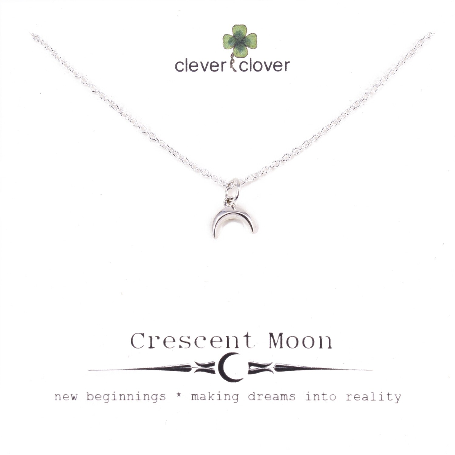 SSN6095 Sterling Silver Tiny Ridged Horizontal Moon Necklace