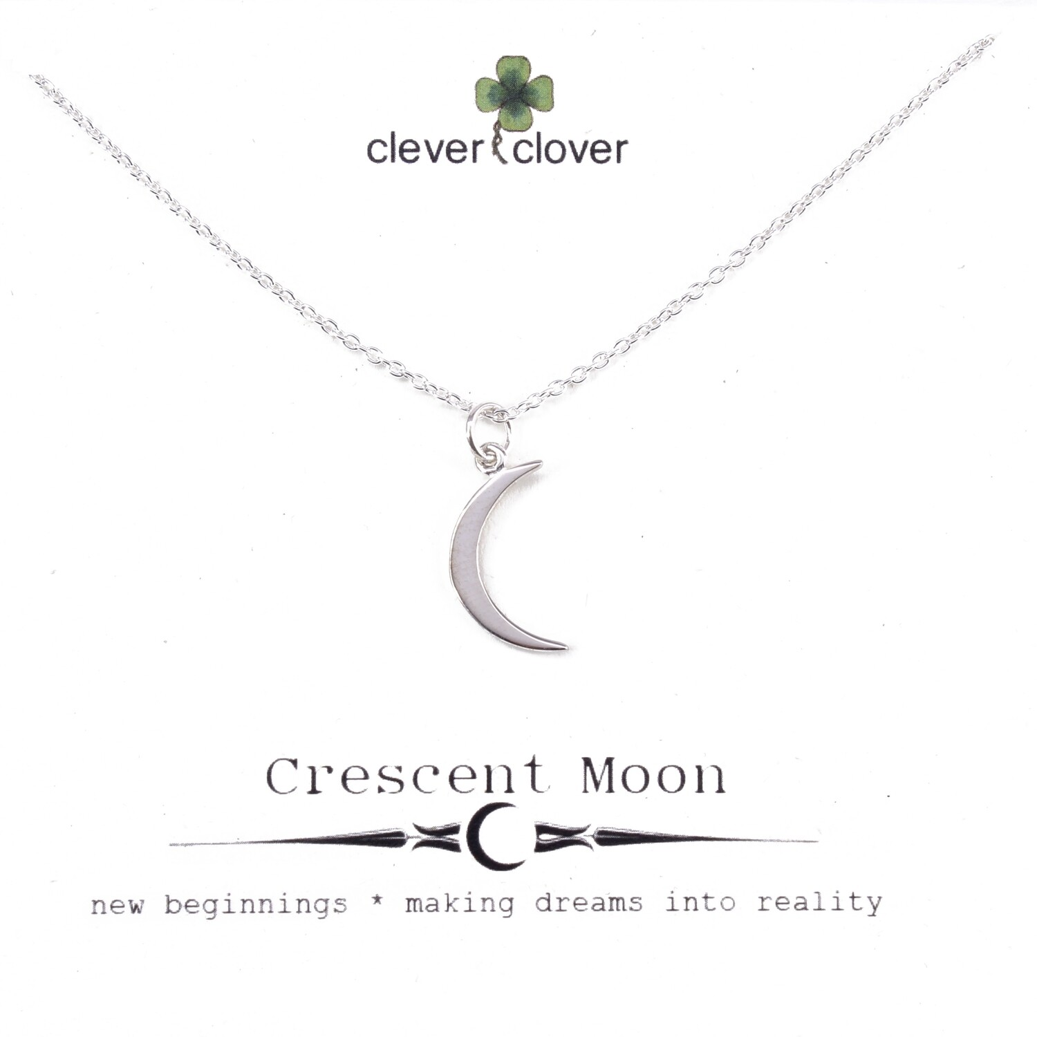 SSN1196 Sterling Silver Medium Crescent moon Necklace