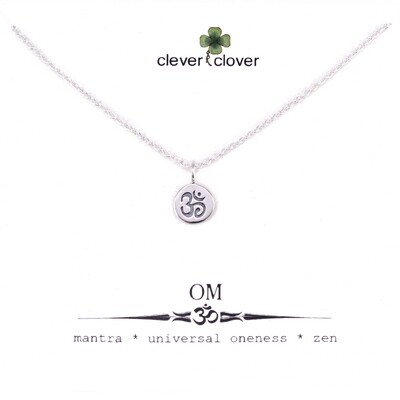 SSN646 Sterling Silver Tiny Om Circle Necklace