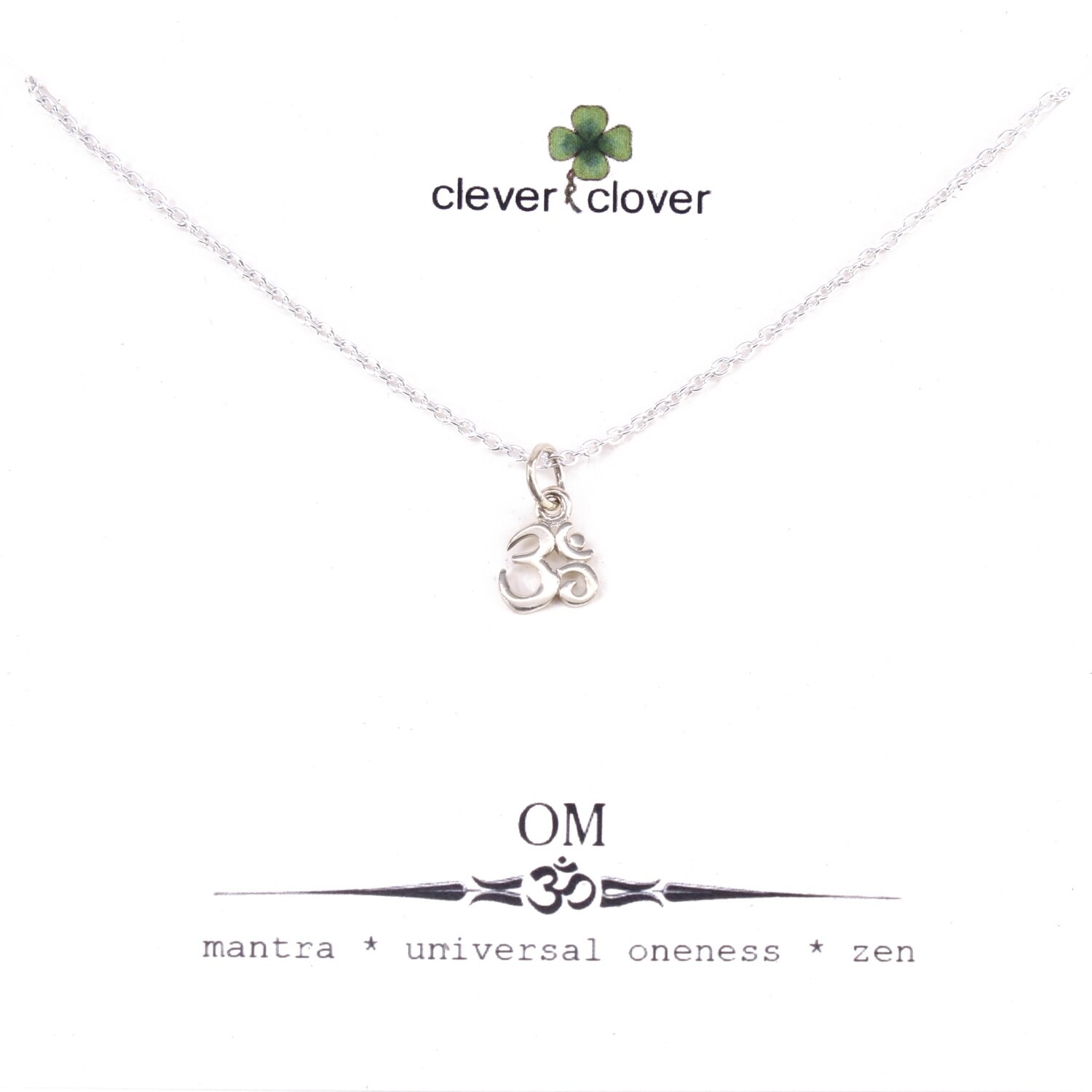 SSN1325 Sterling Silver Tiny Om Symbol Necklace