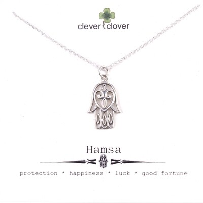 SSN573 Sterling Silver Hamsa with Heart Necklace